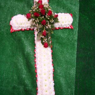 Red & White Flower Cross