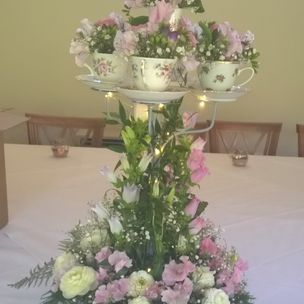 Wedding Top Table display with Tea cups , flowers & Lights
