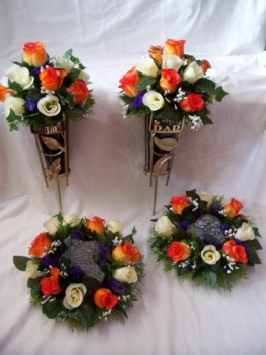 Memory Grave Vases & Stone plaques in silk flowers