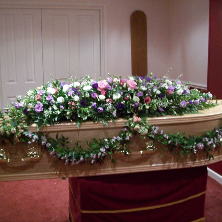 Coffin Flower Arrangement with side swags