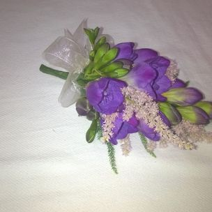 Ladies Purple Freesia Flower Corsage