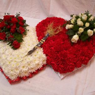 Red & White Double Heart funeral flowers