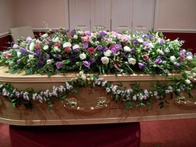 Funeral flowers coffin arrangement